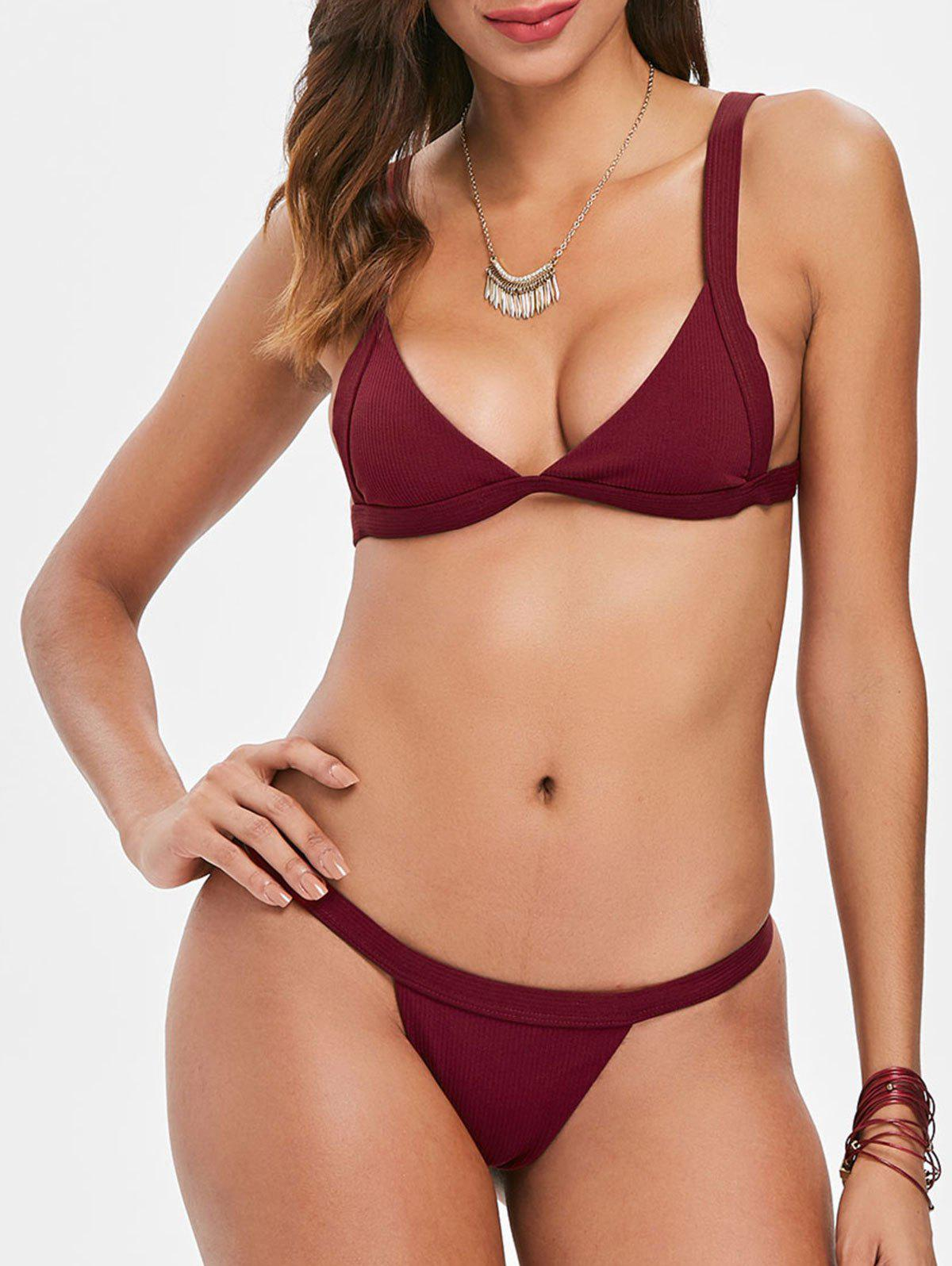 Trendy Thong Plunge Bikini Set