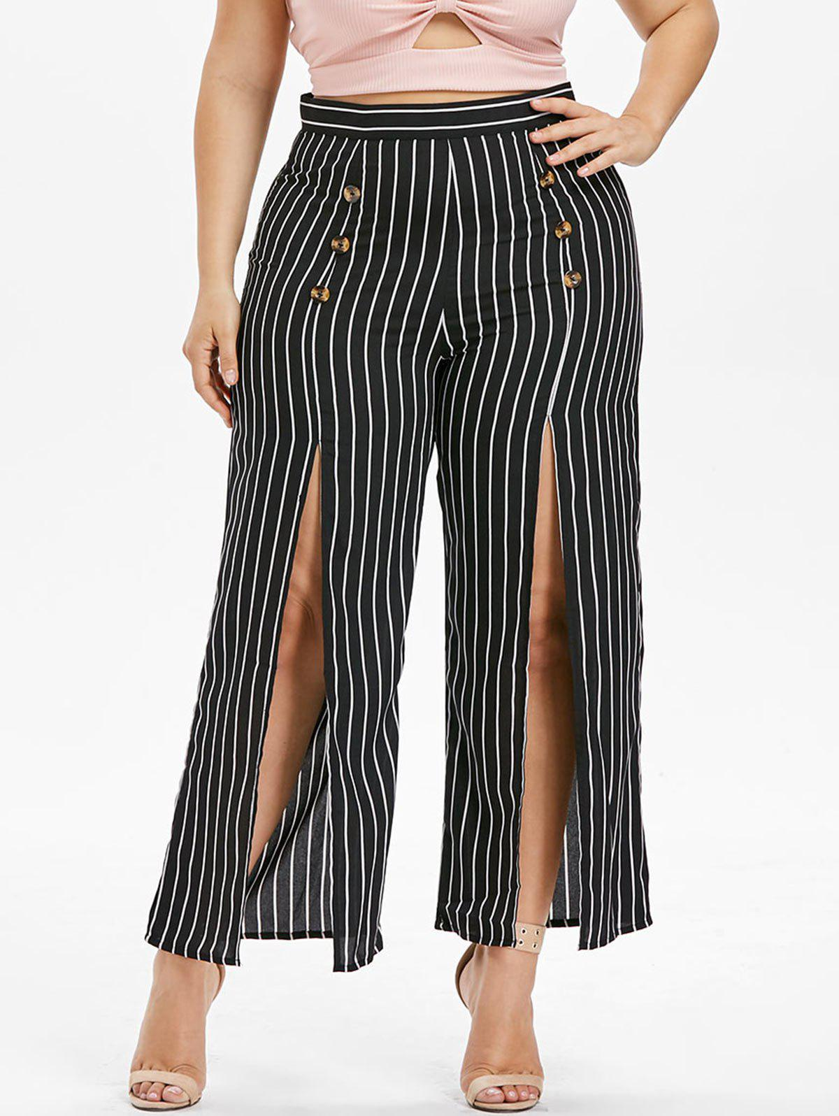 Best Plus Size Striped High Slit Pants
