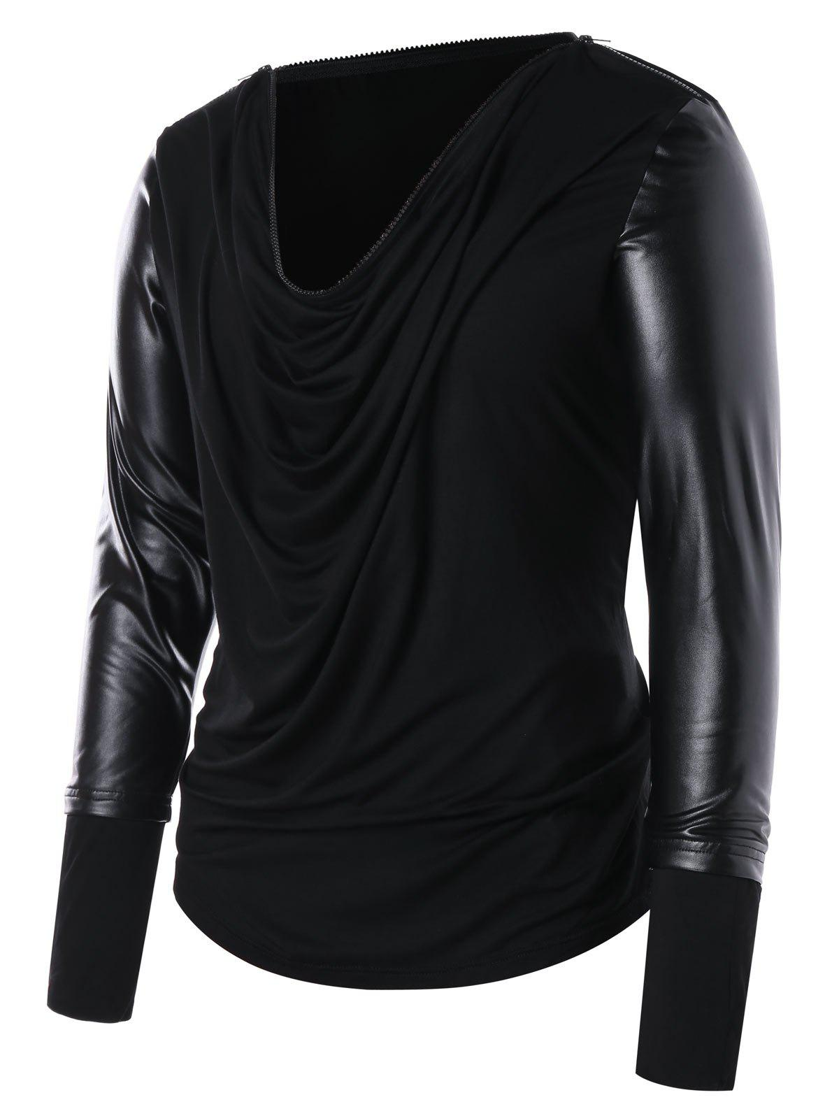 Discount Zip Collar PU Leather Panel T-shirt