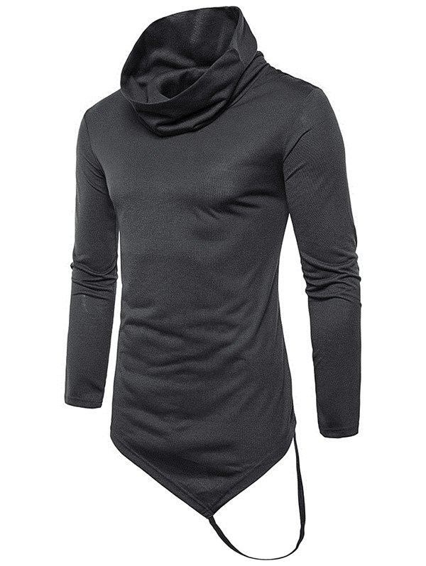 Outfit Pile Heap Collar Irregular Hem Solid Color Long Sleeve Casual T-shirt
