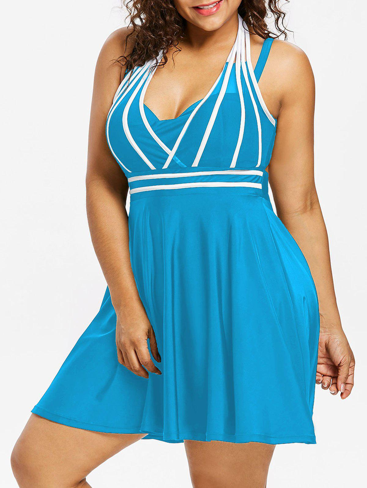 New Plus Size String Skirted One Piece Swimsuit