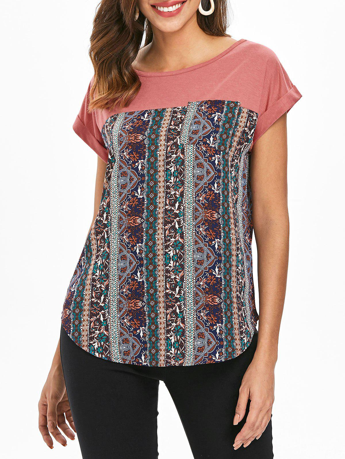 Unique Pocket Ethnic Print Panel T-shirt