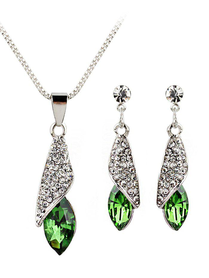 Sale Rhinestone Inlaid Water Drop Faux Gem Jewelry Set
