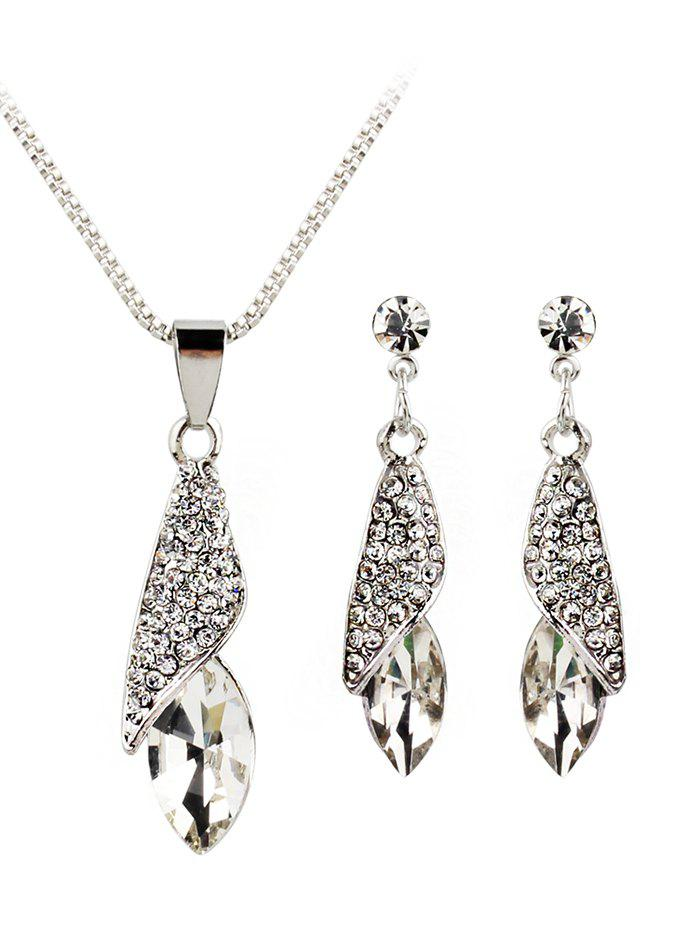 Trendy Rhinestone Inlaid Water Drop Faux Gem Jewelry Set