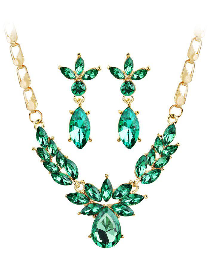 Latest Shiny Crystal Inlaid Pendant Necklace and Earrings Set