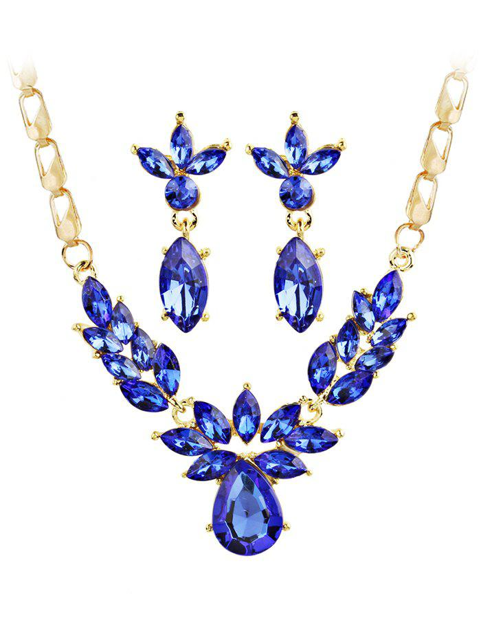 Store Shiny Crystal Inlaid Pendant Necklace and Earrings Set