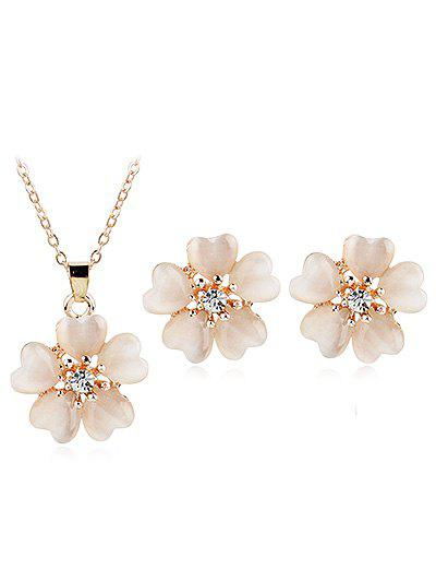 Affordable Shiny Rhinestone Inlaid Floral Jewelry Set