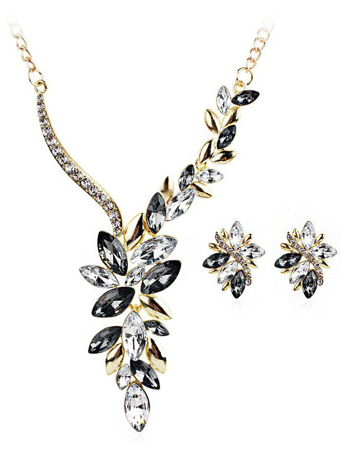 Chic Vintage Rhinestone Faux Gem Decorative Wedding Jewelry Suit