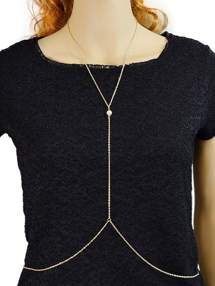 Fancy Artificial Pearl Thin Y Shaped Body Chain