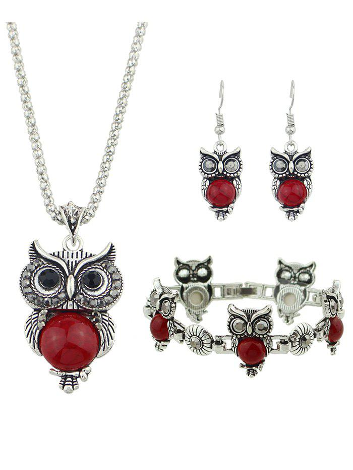 Outfit Owl Design Pendant Necklace Bracelet Earrings Set