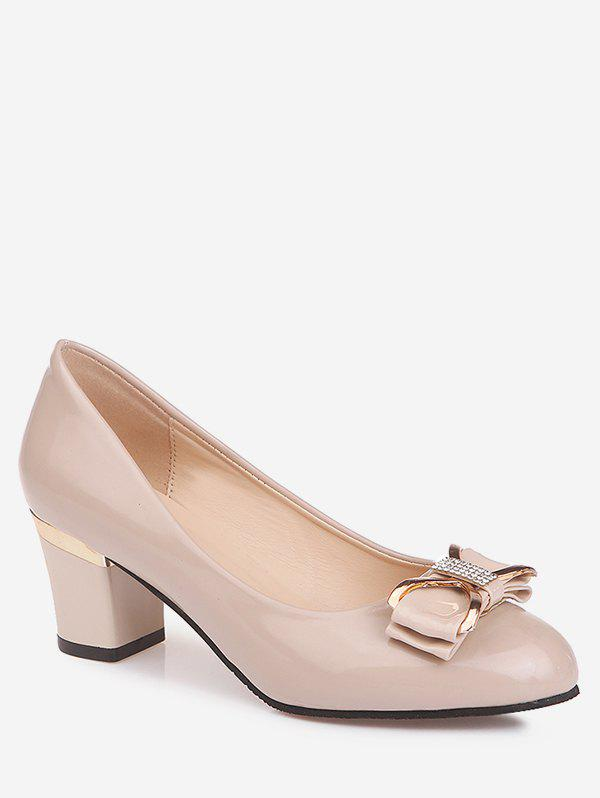 Shop Plus Size Block Heel Bowknot Casual Party Pumps