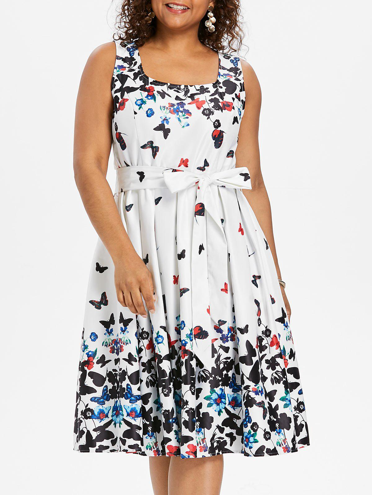 Trendy Butterfly Print Plus Size Sleeveless A Line Dress