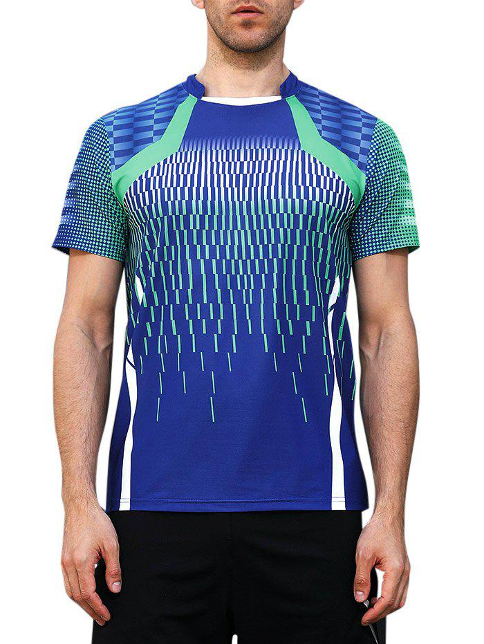 Fashion Faster Moisture Absorption Geometric Print Gym Tee