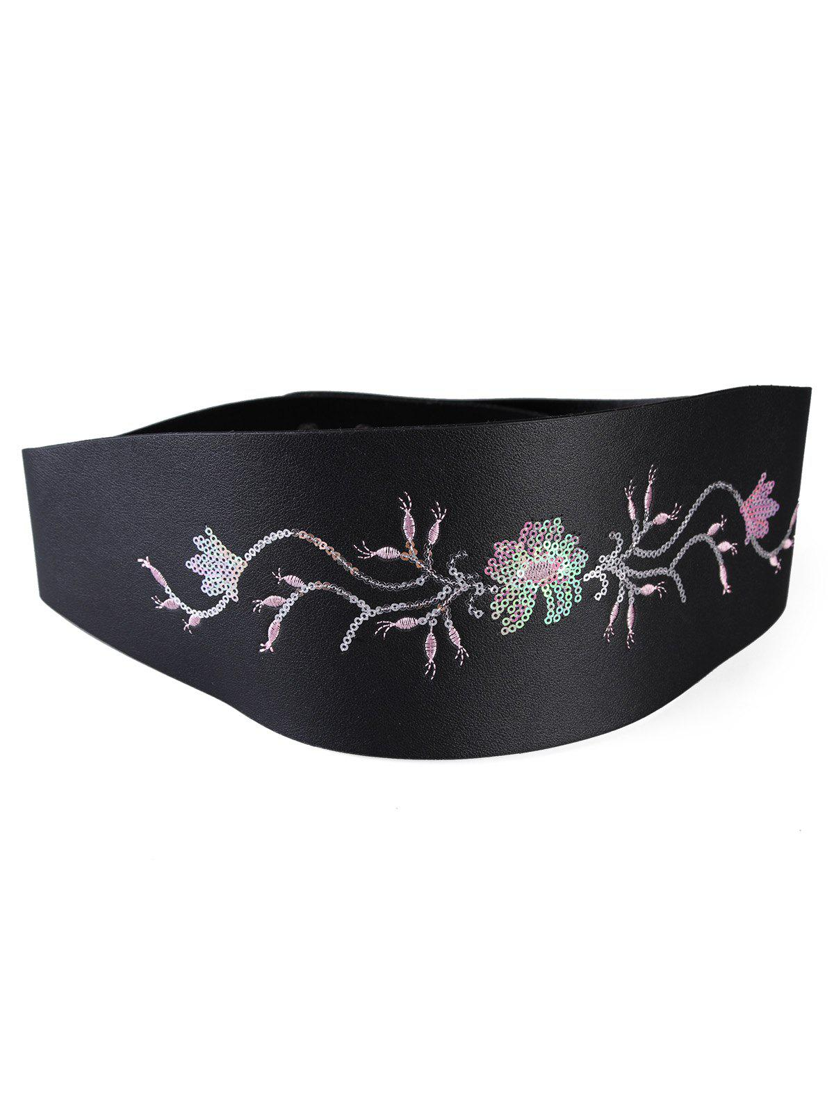 Shop Vintage Floral Sequins Decorative Wide Waist Belt