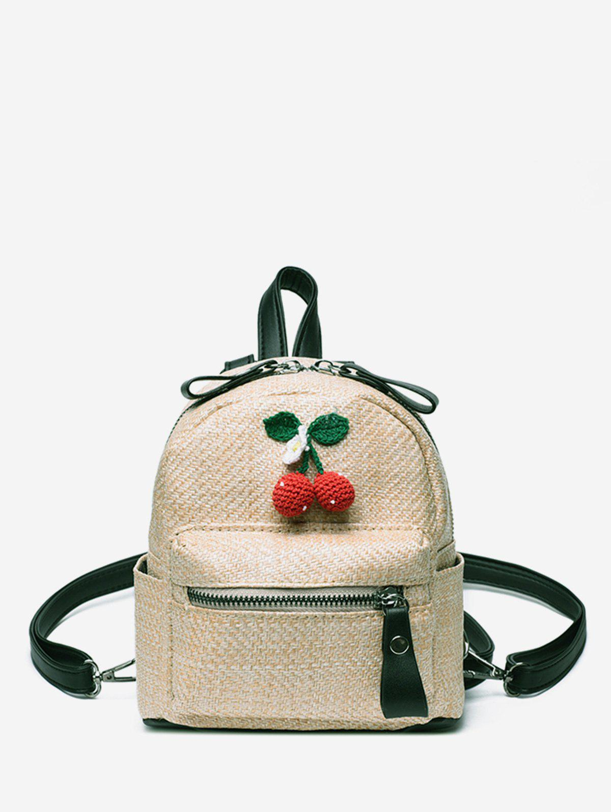 Fashion Leisure Straw Travel Cherry Pattern Multi Function Backpack