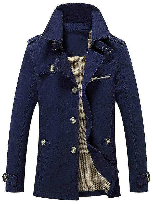 Online Turn Down Collar Epaulet Design Button Up Jacket