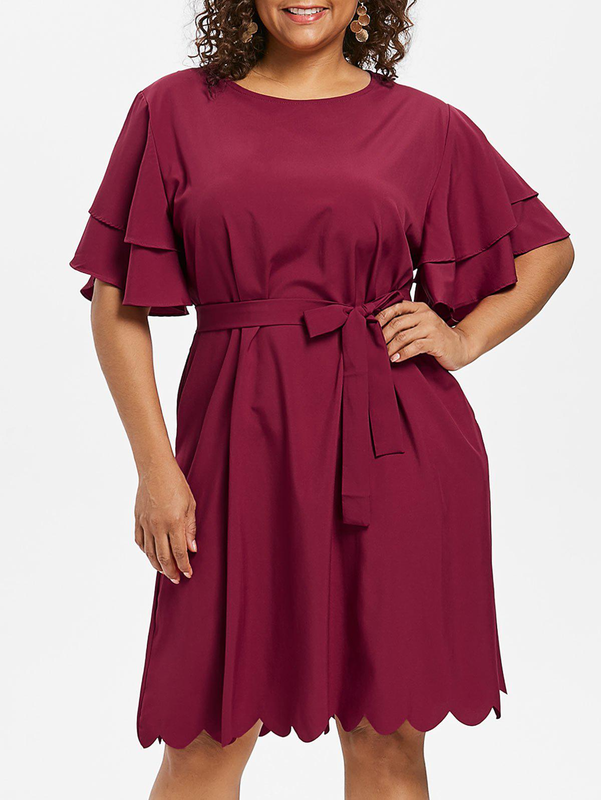 Best Plus Size Scalloped Butterfly Sleeve Dress
