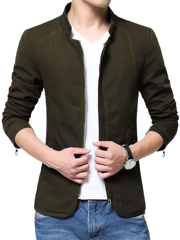 Affordable Zip Up Stand Collar Solid Color Jacket