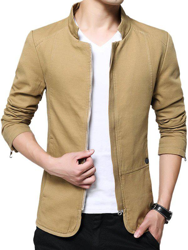 Outfits Zip Up Stand Collar Solid Color Jacket