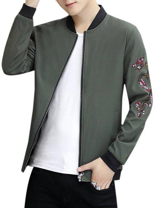 Outfit Zip Up Stand Collar Embroidery Crane Jacket