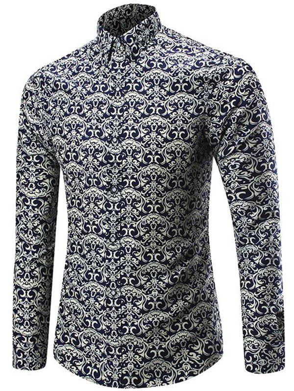 Online Long Sleeve Allover Artistic Print Shirt