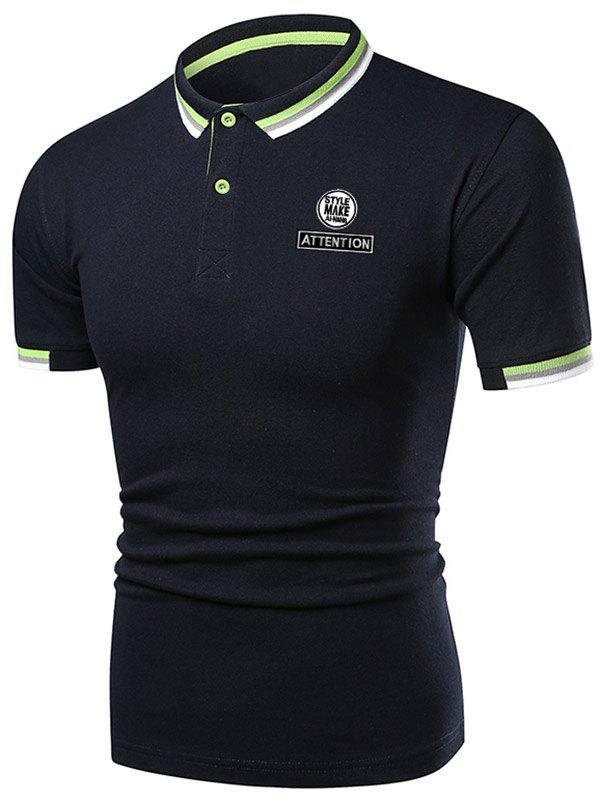 New Letter Graphic Casual Polo Shirt
