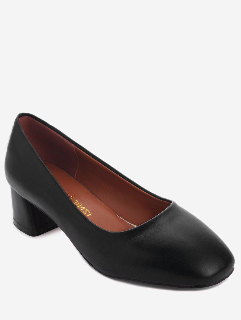 Affordable Plus Size Solid Chunky Heel Square Toe Pumps