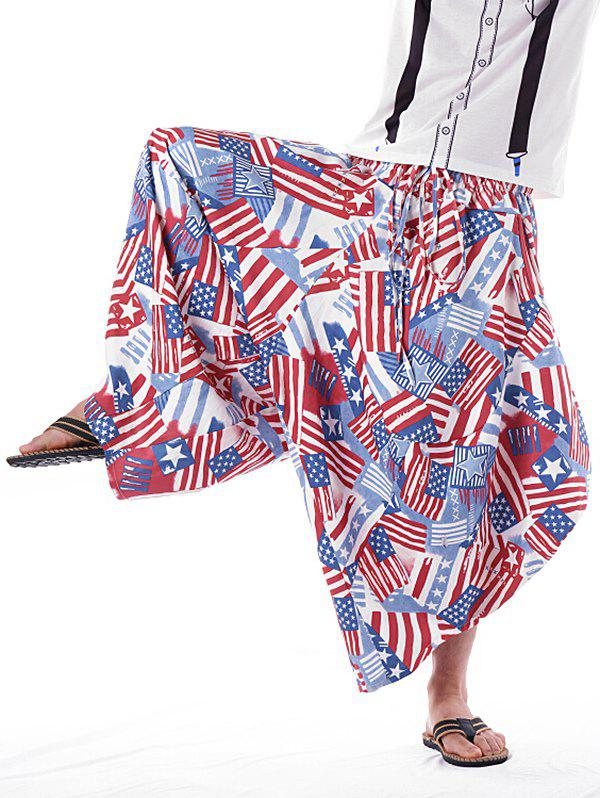 Fashion Patriotic American Flag Inspired Elastic Waist Harem Pants