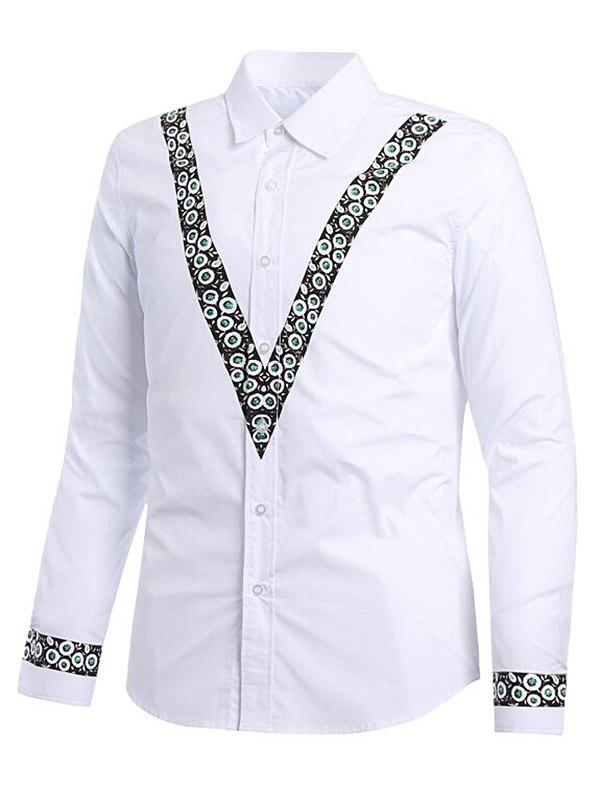 Discount V Shape Floral Print Casual Shirt