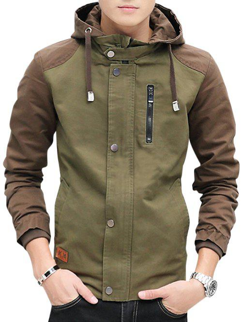 Best Zip Up Contrast Color Hooded Jacket