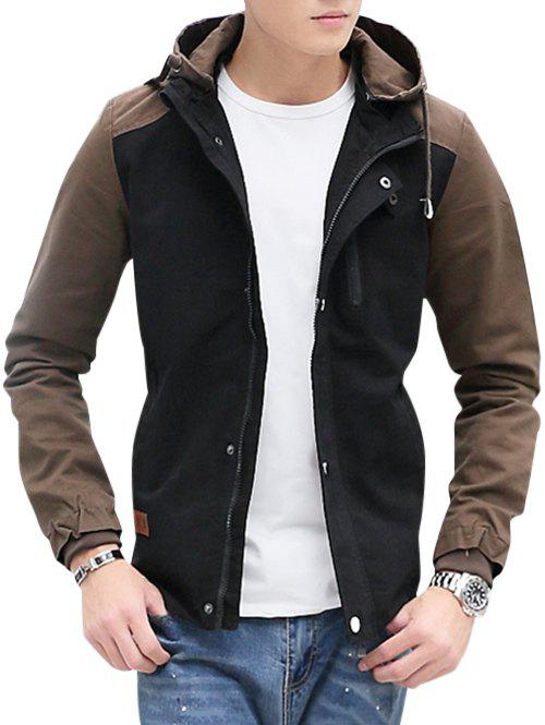 Cheap Zip Up Contrast Color Hooded Jacket