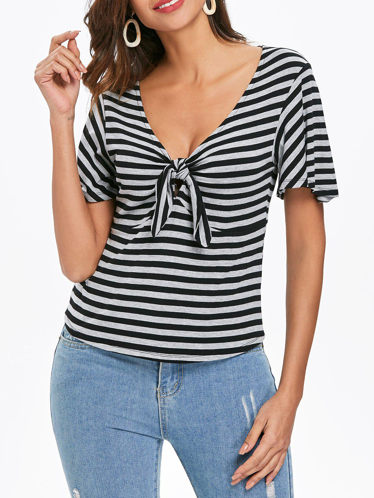 Unique Striped Knot Tie T-shirt