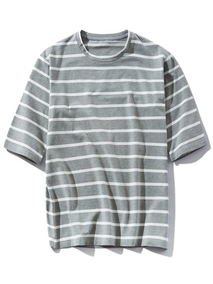 New Loose Stripe Round Neck T-shirt