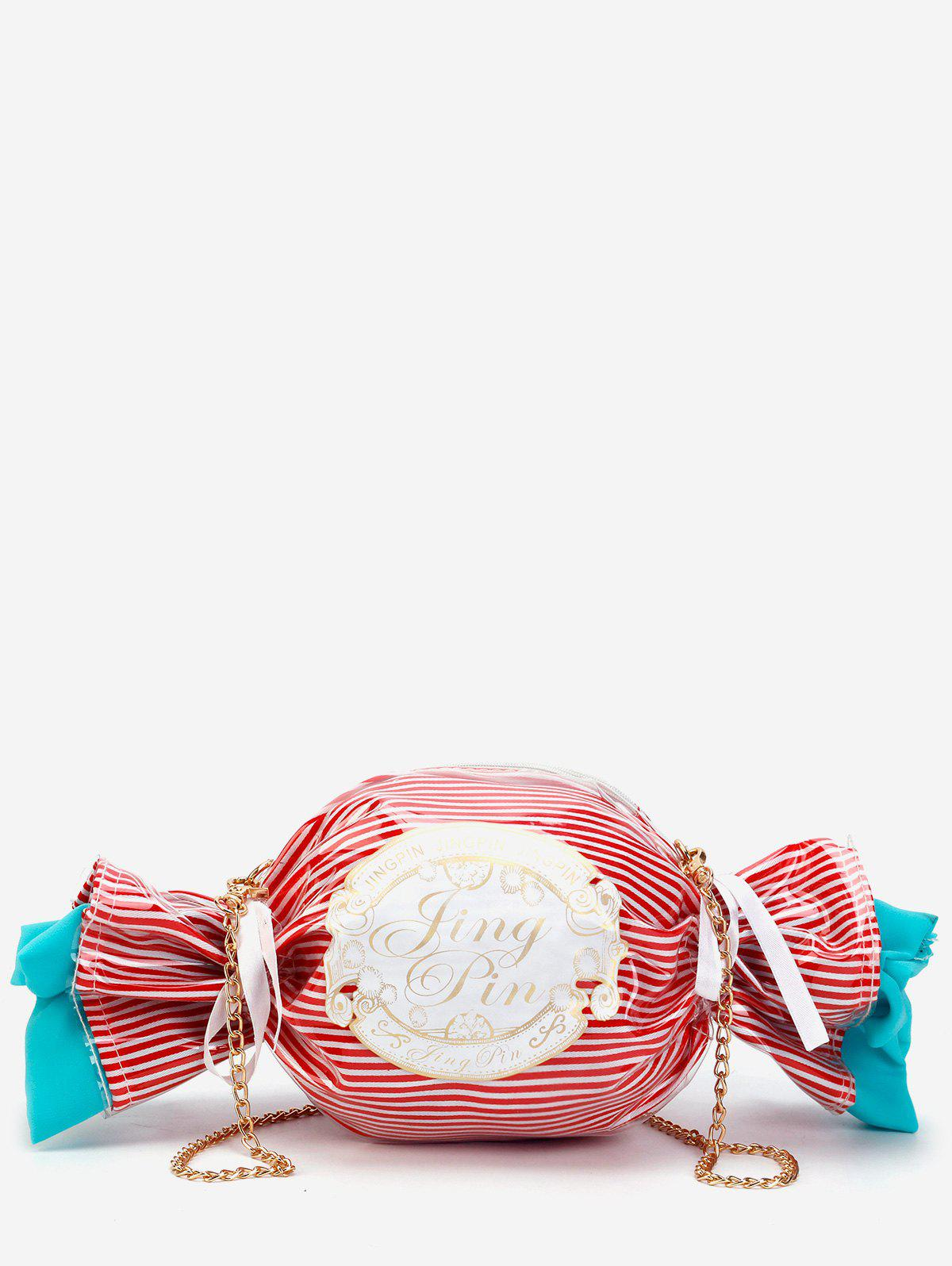 Trendy Metal Chain Candy Pattern Color Block Crossbody Bag