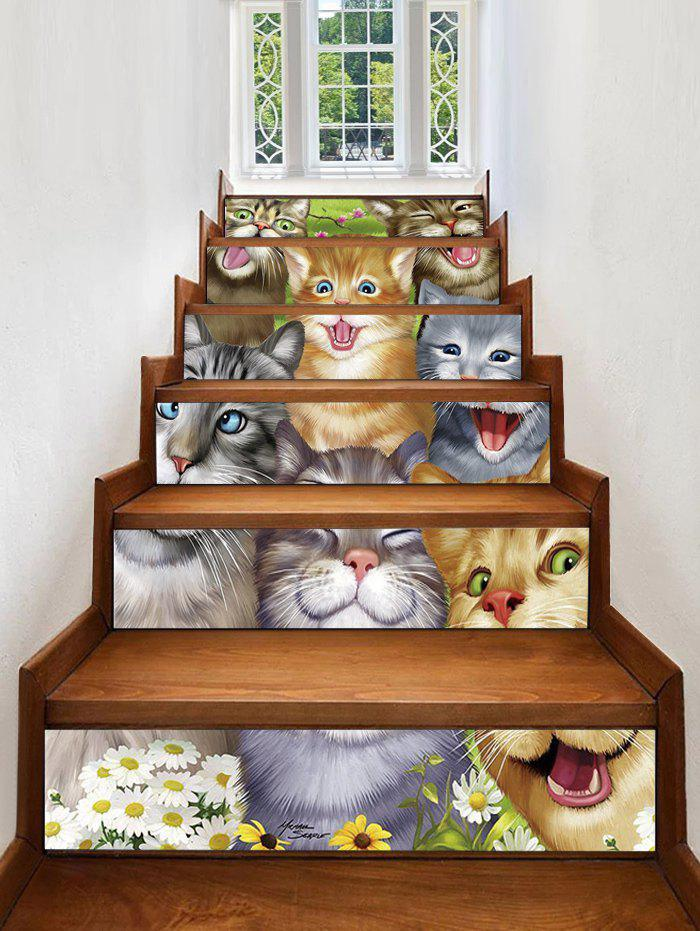 Buy Cute Kitten Print Decorative Stair Stickers