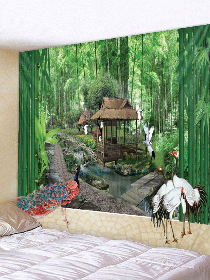 Hot Crane Bamboo Forest Print Wall Hanging Tapestry