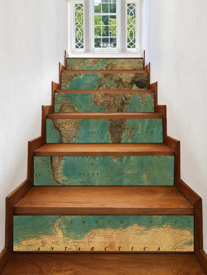 New Vintage Map Print Decorative Stair Stickers