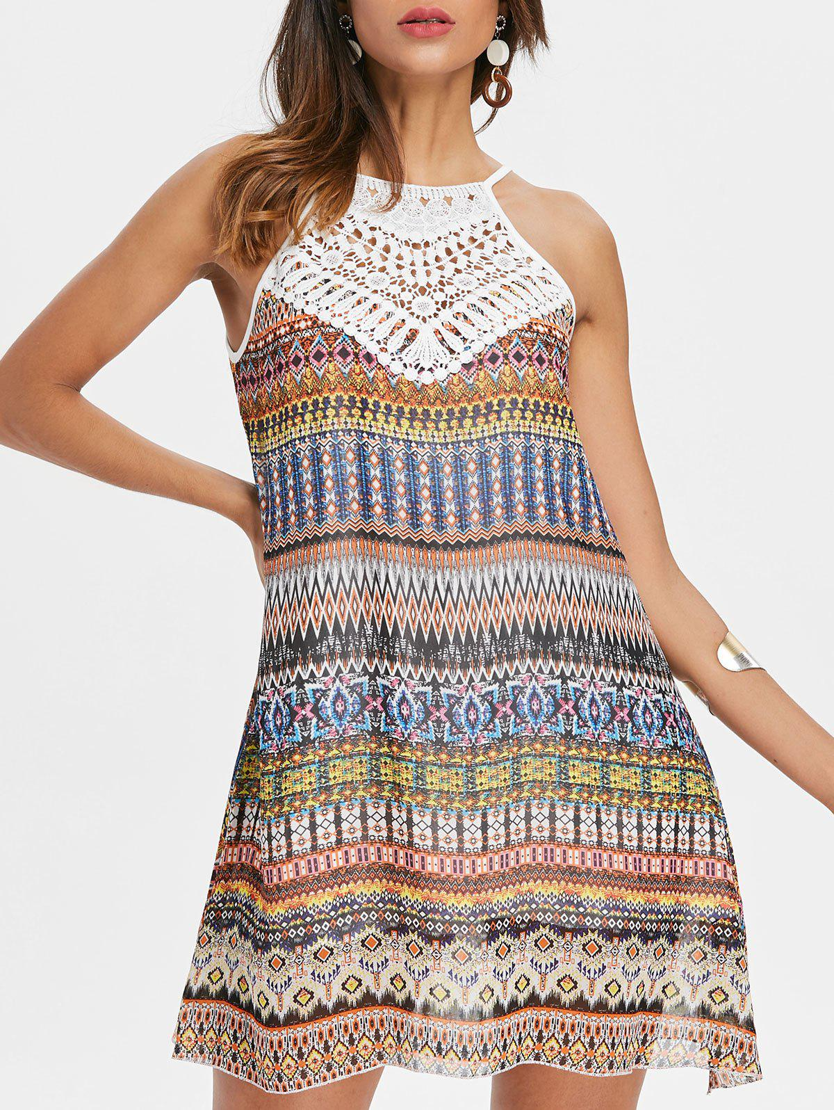 Affordable Crochet Trim Sleeveless Print Chiffon Dress