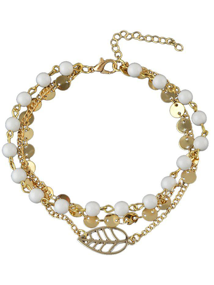 Outfit Hollow Leaf Beaded Disc Charm Anklet