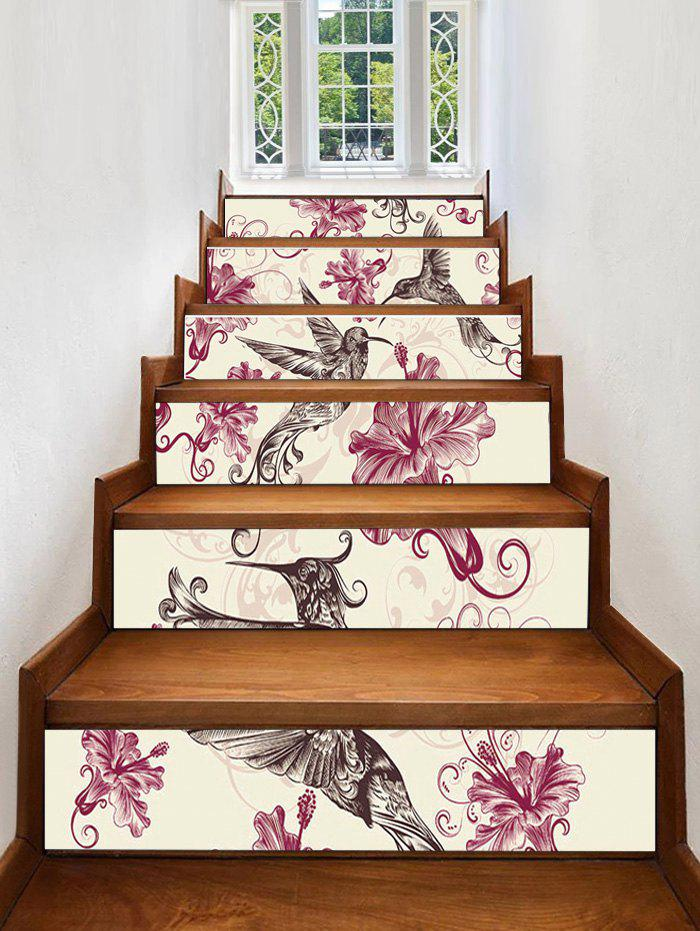 Outfit Flower Bird Print Decorative Stair Stickers