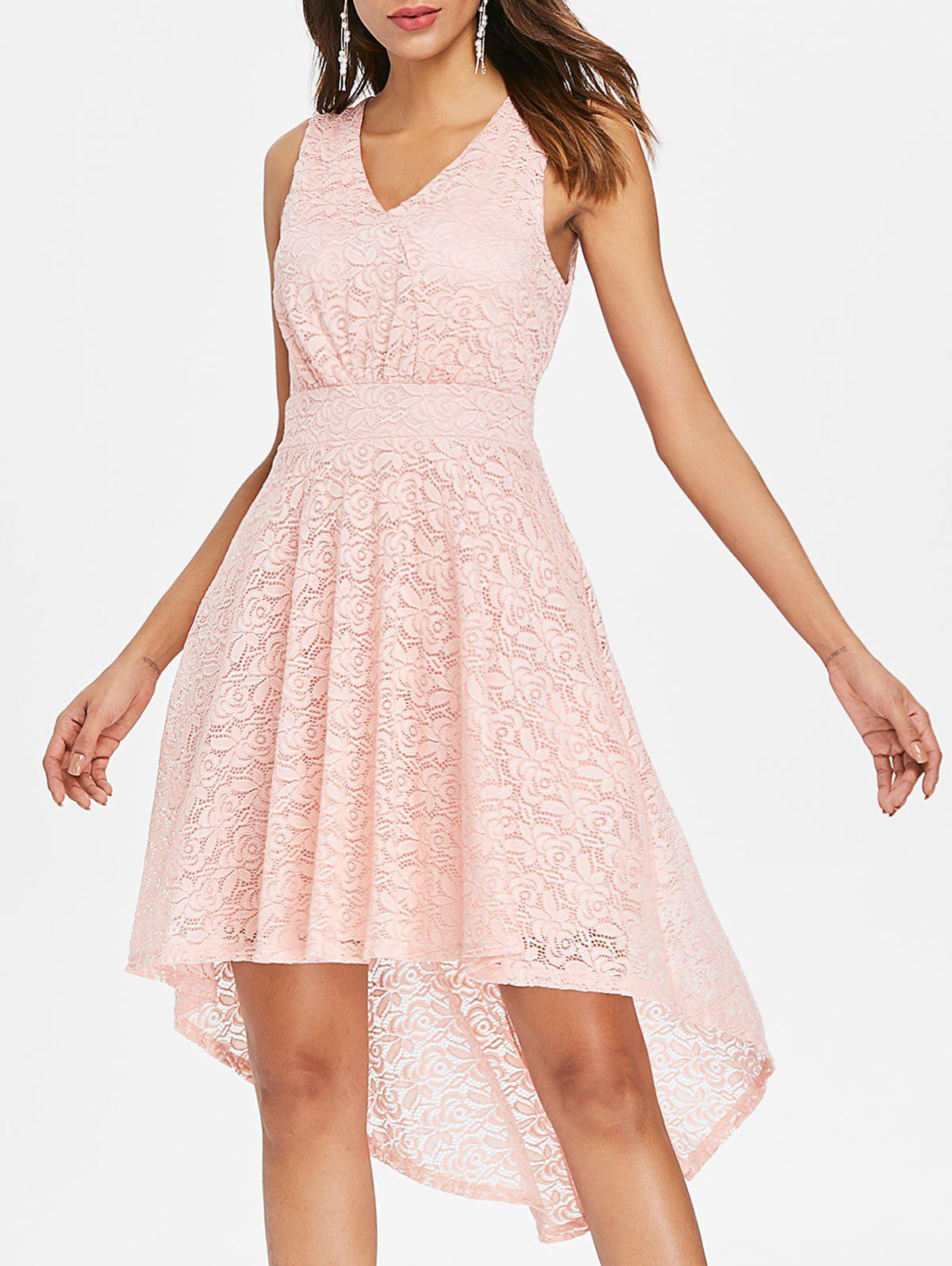 Sale Sleeveless High Low Lace Dress