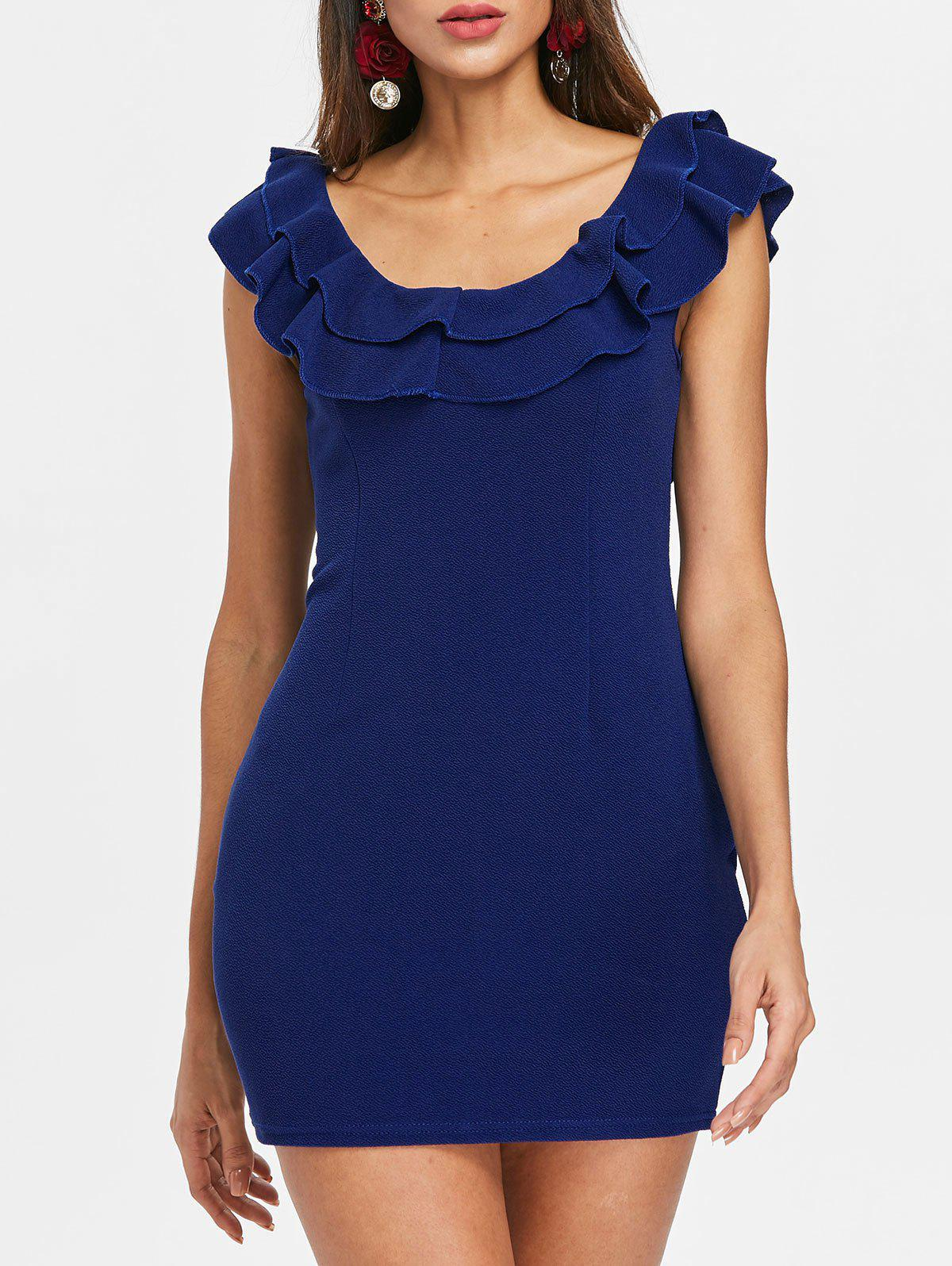 Online Flounce Trim Back Cut Out Bodycon Dress