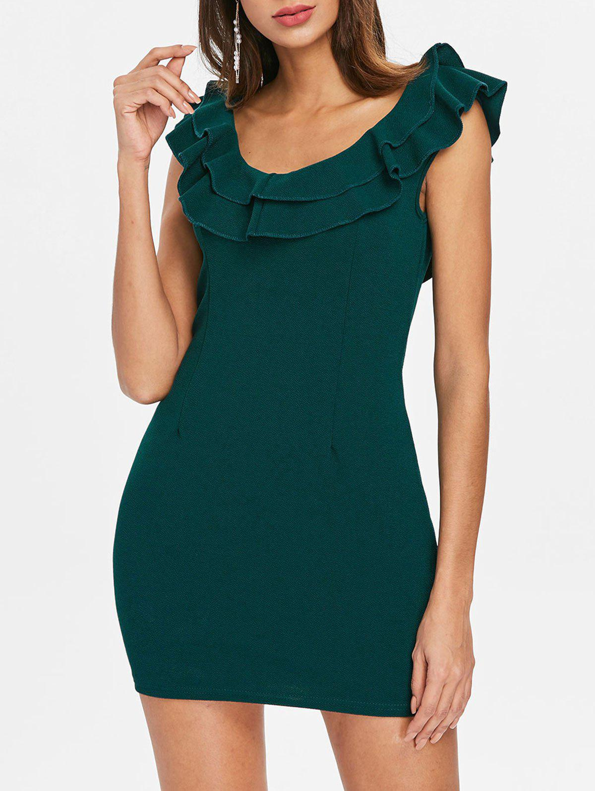 Latest Flounce Trim Back Cut Out Bodycon Dress
