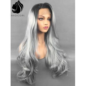 Long Side Bang Colormix Slightly Curly Lace Front Synthetic Wig -