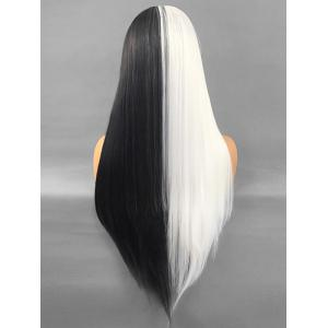 Long Center Parting Straight Two Tone Lace Front Synthetic Wig -