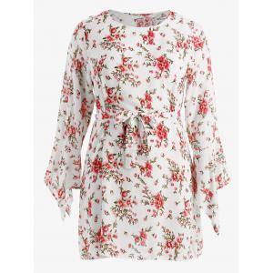Plus Size Flower Bell Sleeve Dress -