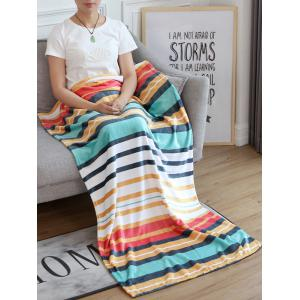 Striped Print Flannel Soft Bed Blanket -