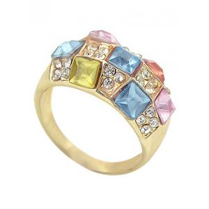 Rhinestone Geometric Shape Artificial Crystal Ring -