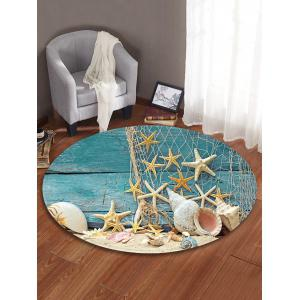 Beach Starfish Pattern Anti-skid Round Floor Rug -