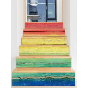 Colorful Ombre Print Decorative Stair Stickers -